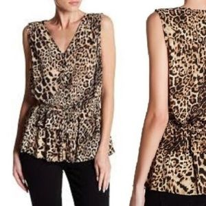 Pleione Womens L Leopard Print Sleeveless Blouse